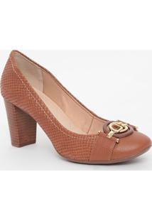 Sapato Em Couro Texturizado Com Aviamentos- Marrom & Doujorge Bischoff