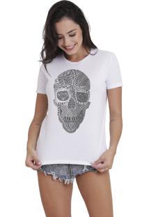 Camiseta Básica Feminina Joss Caveira Tribal Branca - Kanui