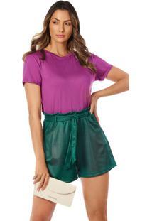 T-Shirt Morena Rosa Decote Redondo Com Transfer Azul