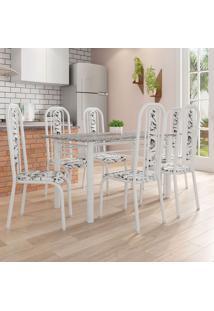 Conjunto De Mesa Com 6 Cadeiras Granada Prata E Branco Floral Gr