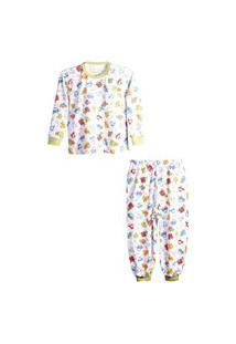 Pijama Peixinho Dourado Diversão Manga Comprida Verde