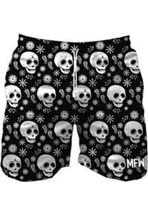Bermuda Maromba Fight Wear Mexican Black Skull Masculina - Masculino-Preto