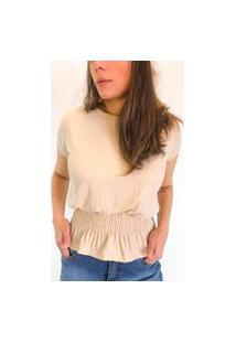Camiseta Em Viscolycra Com Lastex Na Cintura - Areia
