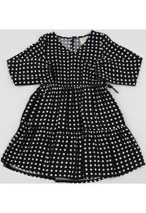 Vestido Infantil Estampado De Poá Com Transpasse Manga Longa Preto