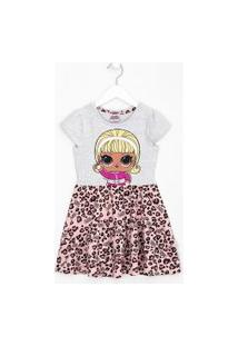 Vestido Infantil Lol Com Saia Estampa Animal Print - Tam 4 A 14 Anos | Lol Surprise | Cinza | 5-6