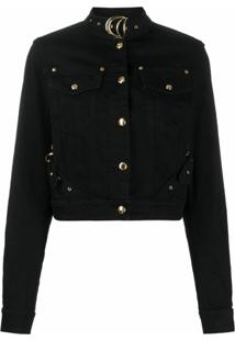 Versace Jeans Couture Jaqueta Cropped Com Fivela - Preto
