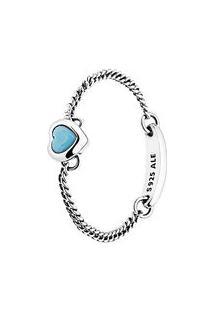 Anel Amuleto Do Amor- Prata & Azul Claro- Tamanho 46Pandora