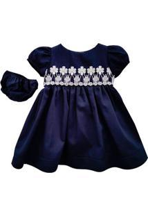 Vestido Fustão Com Calcinha - 100% Algodão - Azul Marinho - Turma Mixirica - Gg