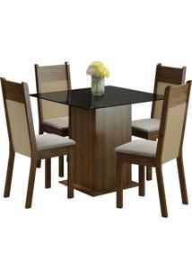 Conjunto Sala De Jantar Madesa Mesa Com Tampo De Vidro E 4 Cadeiras Miami - Rustic/ Pérola