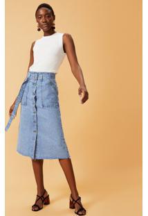 Saia Jeans Bolso Utilitário