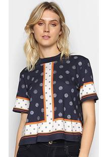 Camiseta Colcci Estampada Feminina - Feminino-Marinho