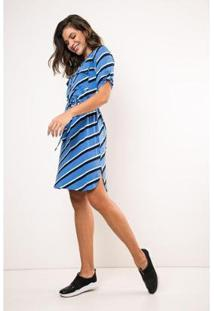 Vestido Meia Vista Manga Curta Viscolycra Listra Ervadoce Feminino - Feminino-Azul