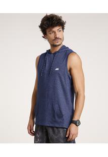 Regata Masculina Esportiva Ace Com Capuz E Bolso Azul Marinho