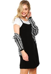 Vestido Sofie Curto Slip Dress Sobreposição Preto/Branco