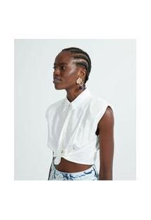 Camisa Curta Em Tricoline Com Ombreiras E Pregas | Blue Steel | Branco | G