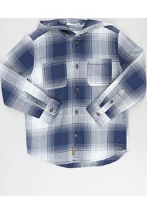 Camisa Infantil Estampada Xadrez Com Capuz Manga Longa Azul Marinho