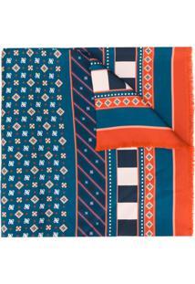 Fendi Lenço De Seda Com Padronagem De Logo Ff - Azul