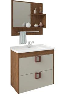 Gabinete Suspenso Para Banheiro Lírio 56X59Cm Amêndoa E Off White