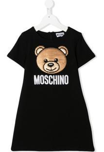 Moschino Kids Vestido Com Bordado De Paetês - Preto