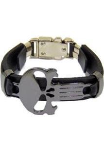 Bracelete Couro Via Luna Religião Masculino - Masculino-Preto