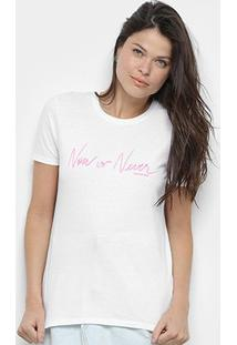 Camiseta Calvin Klein Now Or Never Feminina - Feminino-Branco