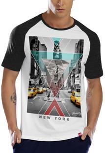 6908bc7ae Camiseta Raglan New York Cinza - Masculino-Branco+Chumbo