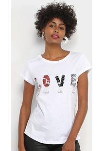Camiseta Facinelli Love Bordada Feminina - Feminino-Branco