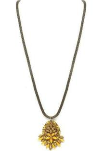 Colar Longo Pedra Armazem Rr Bijoux - Feminino-Dourado