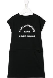 Karl Lagerfeld Kids Vestido Sem Mangas Com Logo - Preto