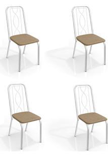 Conjunto Com 4 Cadeiras De Cozinha Viena Cromado E Capuccino