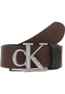 Cinto Couro Calvin Klein Jeans Liso Marrom - Kanui