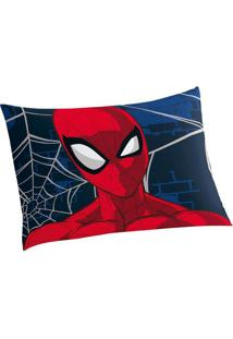 Fronha Spider Manâ®- Azul Escuro & Vermelha- 70X50Cm