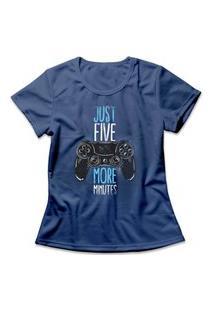 Camiseta Feminina Five More Minutes Azul
