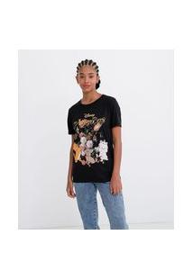 Camiseta Com Estampa Aristocats Com Flores | Disney | Preto | P