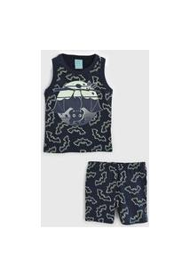Pijama Kyly Curto Infantil Morcego Azul-Marinho