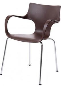 Cadeira Jim Base Fixa Cromada Cor Chocolate - 22589 - Sun House