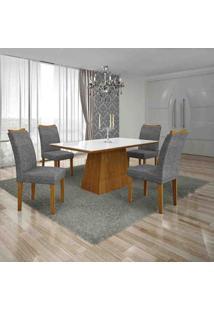 Conjunto De Mesa Com 4 Cadeiras Pampulha I Imbuia Mel E Cinza