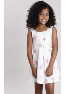Vestido Infantil Texturizado Estampado Floral Sem Manga Branco