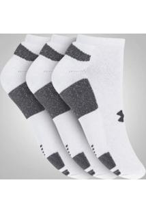 Kit De Meias Under Armour Heatgear No Show Com 3 Pares - Masculino - Branco