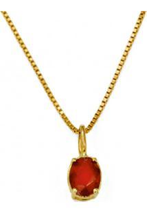 Gargantilha Em Ouro Com Jade Vermelha E Veneziana - Gg19298