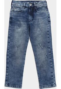 Calça Jeans Infantil Malwee Skinny Estonada Masculina - Masculino-Azul