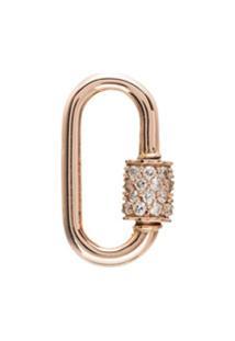 Marla Aaron Pingente Mosquetão Em Ouro Rosê 14Kt Com Diamante - Metallic