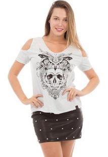 Camiseta Aes 1975 Owl And Skull Feminina - Feminino-Azul