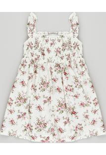 Vestido Infantil Estampado Floral Com Babado Na Alça Off White