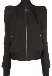 Rick Owens Zipped Structured Shoulder Jacket - Preto