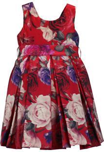 Vestido Infantil Pipoca Doce Floral Vermelho