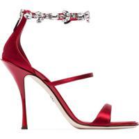 04cece3171 Dolce   Gabbana Sandália De Cetim Com Aplicação De Cristais - Vermelho