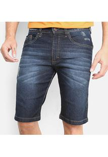 Bermuda Jeans Hd Torn Masculina - Masculino-Azul+Preto