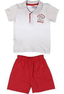 Conjunto Infantil Para Bebê Menino - Branco/Vermelho - Masculino-Branco+Vermelho