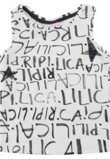 Camiseta Lilica Ripilica Menina Lettering Off-White